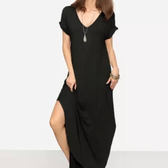 92a26743eb54 Forever 21 Dresses | Black T Shirt Dress Maxi | Poshmark